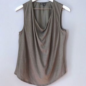 EUC Vince. Taupe sleeveless silk blouse M